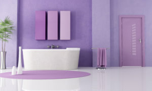 sandstone bathtub in a lilla bathroom - rendering